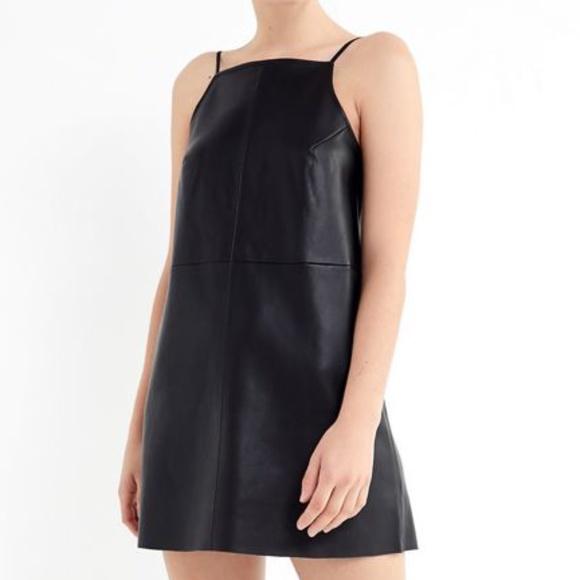 NWT UO Camila Faux Leather Square-Neck Mini Dress/ Size: M